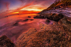 Panoramic view on sunset sea Royalty Free Stock Image