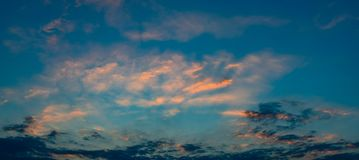 Panoramic view of sunset sky with blue sky Stock Images
