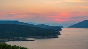 Timelapse of sunset on Poros, Greece stock footage