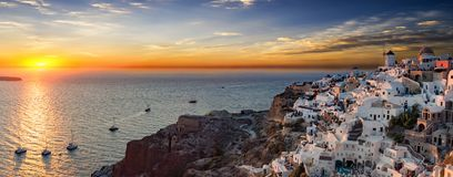 Panoramic view over the village of Oia on Santorini Island Royalty Free Stock Photo