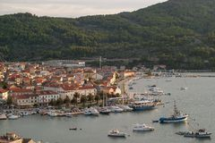 Panoramic view during sunset to Vela Luka. royalty free stock image
