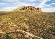 Panoramic view of Superstition Mountains, Arizona. Overlooking view of Superstition Mountains near Phoenix, Arizona. Sun is going down, just couple of hours royalty free stock image