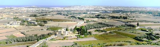 Panoramic view of surrounding fields from the town of Mdina. Malta Royalty Free Stock Photos