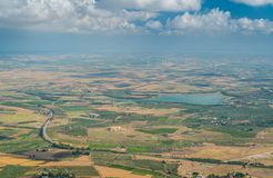 Panoramic view of the surrounding landscape from Erice, province of Trapani, Sicily. royalty free stock photography