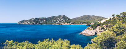 Mediterranean panoramic landscape. Panoramic view of the surroundings of Canyamel on the balearic island of Mallorca Stock Photo