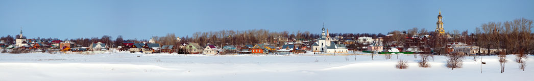 Panoramic view of Suzdal. In winter Royalty Free Stock Photo