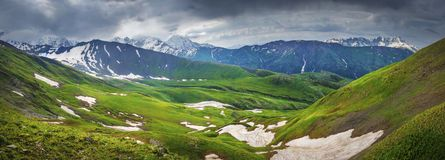 Panoramic view on Svaneti mountains landscape Royalty Free Stock Photography
