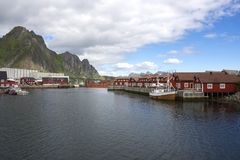 Panoramic view at Svolvaer in the Lofoten Royalty Free Stock Images