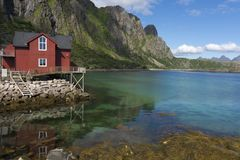 Panoramic view at Svolvaer in the Lofoten Royalty Free Stock Photography