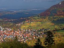 Panoramic view Swabian Alps landscape with villages at fall. Living in the Swabian Alps, Germany, a wine-growing region with its vineyards. Vast view over the Royalty Free Stock Image