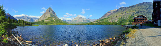 Panoramic view of the Swiftcurrent lake in high alpine landscape on the Grinnell Glacier trail, Glacier national park, Montana Stock Photos