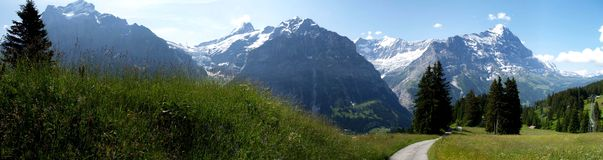 Panoramic view of swiss alps Royalty Free Stock Image