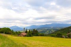 Panoramic view of Swiss Alps near Geneva, Switzerland. Stock Photo