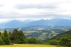 Panoramic view of Swiss Alps near Geneva, Switzerland. Royalty Free Stock Photo
