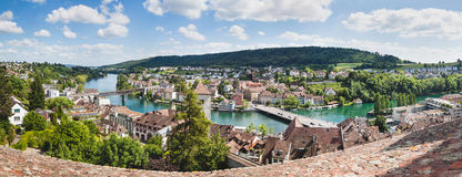 Panoramic view of Swiss town Schaffhausen. River Rhine. Royalty Free Stock Photos