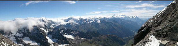 Panoramic view of Switzerland mountains Stock Photos