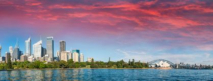 Panoramic view of Sydney cityscape from Farm Cove.  Stock Photography