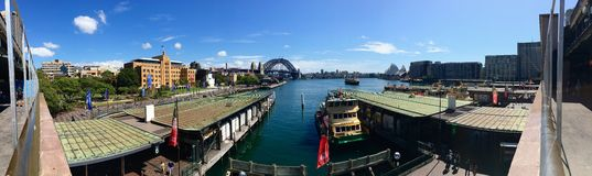 Panoramic view of Sydney Harbour Bridge & Opera House Royalty Free Stock Photography