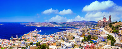 Panoramic View Of Syros Island,Greece. Syros island - panoramic view with church and port, Ermoupoli. Greece Royalty Free Stock Photography