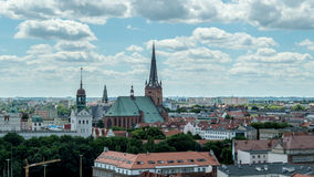 Panoramic view of Szczecin Cathedral. POLAND, SZCZECIN - 30 JUNE 2014: Panoramic view of Szczecin Cathedral Royalty Free Stock Photo