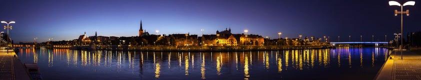 Panoramic view of Szczecin (Stettin) City at night, Poland. Stock Photos