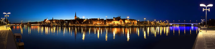 Panoramic view of Szczecin (Stettin) City at night, Poland. Royalty Free Stock Images