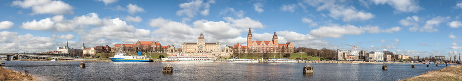 Panoramic view of Szczecin waterfront, Poland Royalty Free Stock Images