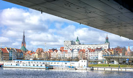 Panoramic view of Szczecin waterfront. Royalty Free Stock Image