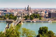 Panoramic view of Szechenyi Chain Bridge Budapest, Hungary. View of Szechenyi Chain Bridge, Budapest city from Fisherman Bastion. Buda, Hungary Stock Photo