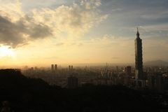 Panoramic View Taipei City at sunset Taiwan. Amazing view on the 101 Tower and other skyscrapers and buildings of Taipei, Taiwan capital city at night with royalty free stock photo