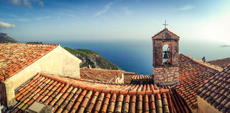 Panoramic view taken in French Riviera town Eze Stock Image