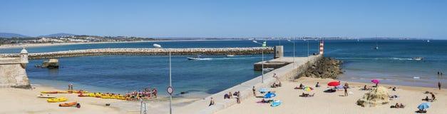 Batata Beach and Marina de Lagos in Portugal royalty free stock image
