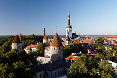 Panoramic view of Tallinn old city center Stock Image