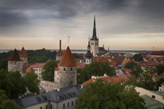 Panoramic view of Tallinn old city center Royalty Free Stock Photos