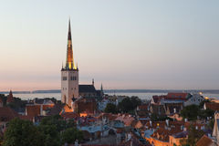 Panoramic view of Tallinn old city center Royalty Free Stock Image