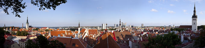 Panoramic View of Tallinn Old Town Stock Image