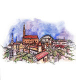 The panoramic view of Tallinn watercolor Royalty Free Stock Photos