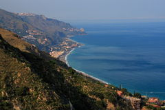 Panoramic view from Taormina. Panoramic sight from the top of Taormina. The Mediterranean sea in sicily. The bay of taormina (east Stock Photo