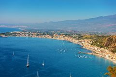 Panoramic view on Taormina coast Royalty Free Stock Image