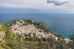 Panoramic view of Taormina. A top view of Taormina under a tiny blanket of snow in Sicily Royalty Free Stock Photos