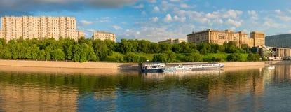 Panoramic view of Taras Shevchenko Embankment. MOSCOW- APRIL 25, 2016: Panoramic view of Taras Shevchenko Embankment in Moscow, Russia stock image