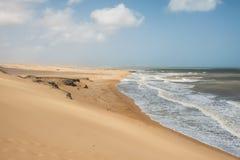 Panoramic view of the Taroa Dunes stock photography