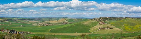 Panoramic view in Tarquinia Necropolis in a sunny spring morning, province of Viterbo, Lazio. stock photography