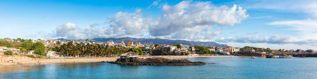 Panoramic view of Tarrafal beach in Santiago island in Cape Verd Stock Photo