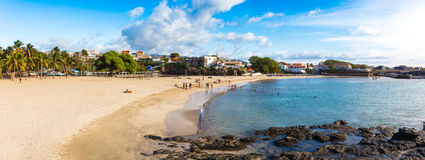 Panoramic view of Tarrafal beach in Santiago island in Cape Verd Royalty Free Stock Photos