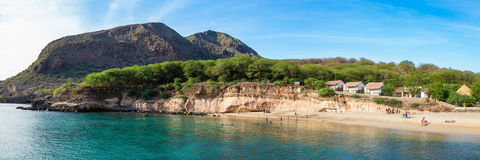 Panoramic view of Tarrafal beach in Santiago island in Cape Verd Stock Photos