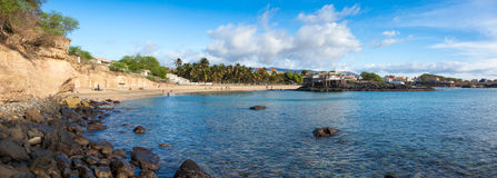 Panoramic view of Tarrafal beach in Santiago island in Cape Verd Stock Image