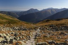 Panoramic view of Tatra mountains in Poland stock image