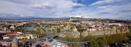 Panoramic view of Tbilisi, Georgia. Royalty Free Stock Images