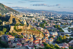 Panoramic view of Tbilisi in Georgia, Europe. Touristic landmark in Tbilisi Georgia. Panorama of fortress citadel Narikala with St Nikolas church Stock Photo